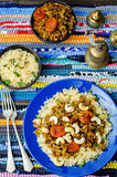 Spiced mince with dried apricots, cashew nuts and couscous Royalty Free Stock Photos