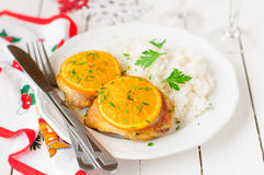 Spiced Orange Roast Chicken with Rice, christmas atmosphere. Spiced Orange Roast Chicken with Rice Royalty Free Stock Photos