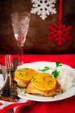 Spiced Orange Roast Chicken with Rice, Christmas Atmosphere, selective focus, vintage effect, copy space for your text Royalty Free Stock Images