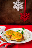 Spiced Orange Roast Chicken with Rice, Christmas Atmosphere, selective focus, vintage effect, copy space for your text Royalty Free Stock Photos