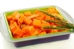 Spiced pumpkin in a baking dish. Stock Photo
