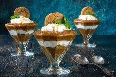 Spiced Pumpkin Pudding Parfaits Stock Images