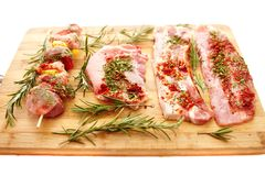 Spiced raw pork meat Stock Images