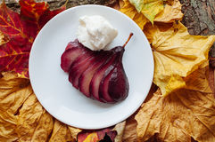Free Spiced Red Wine Poached Pears Royalty Free Stock Images - 55013899