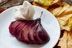 Spiced Red Wine Poached Pears. Pears cooked in wine with spices Royalty Free Stock Photo