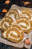 Spiced Rum Pumpkin Cake Roll Stock Photos