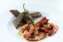 Spiced Sauteed Prawns royalty free stock photos