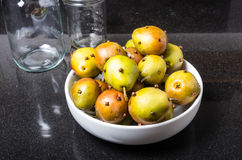 Spiced seckel pears being preserved Stock Images