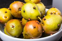 Spiced seckel pears being preserved Royalty Free Stock Photos