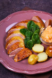 Spiced slow roast duck, apple sauce, spinach and potato, served on pink plate Royalty Free Stock Photography