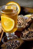 Spiced tea. With orange slice royalty free stock photo
