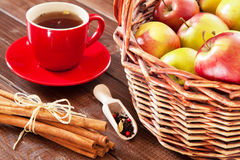 Spiced tea with cinnamon and apples Royalty Free Stock Image