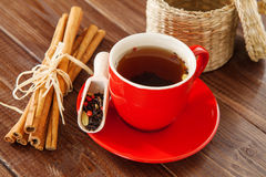 Spiced tea with cinnamon and apples.  Stock Photo