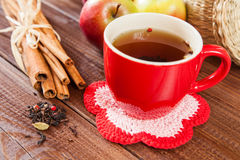 Spiced tea with cinnamon and apples Stock Photo