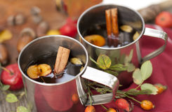 Spiced tea in metal cups Royalty Free Stock Photography