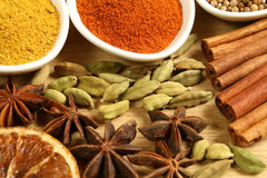 Spices. Variety of spices on a wooden board Stock Image