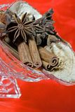 Spices. Christmas spices cinnamon, anise and dried apple slices in a glass bowl with red background Stock Images