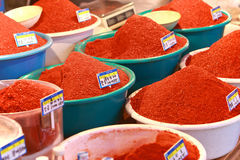 Spices. Red Paprika powder sold at five days market, South Korea royalty free stock photos