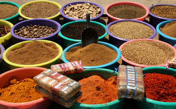 Spices. Various kinds of spices on a market in a village in Tunisia Stock Image