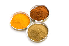 Spices. Food & Drinks - Spices: turmeric, cumin and sweet paprika Royalty Free Stock Image