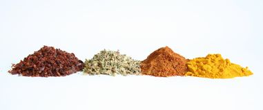 Spices. Oregano, chilli, red pepper and safran stock photos