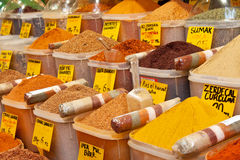 Spices. On display on sale at market Royalty Free Stock Image