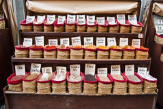Spices. Selling spices in a bazaar in Granada Royalty Free Stock Image