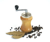 Spices. Black pepper, bay leaf and mill for spices Royalty Free Stock Photography