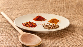 Spices. Mixed spices on hessian surface Stock Photo