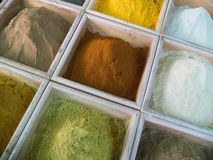 The spices. Dubai spices - dried herbs flowers spices in the street shop Royalty Free Stock Image