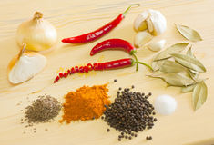 Spices. Several types of vegetables and spices used for cooking Stock Photos