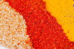 Spices. Arranged as a diagonal background DOF Royalty Free Stock Images