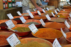 Spices. Different kinds of spices in a market stall stock photography