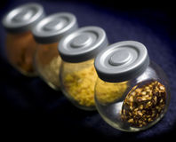 Spices. A set of four glass jars with various spices, selective focus on first jar Stock Photography