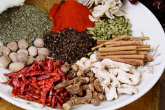 Spices. A plate loaded with colorful spices Stock Images