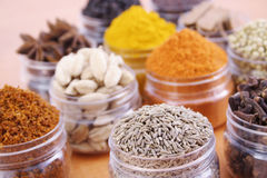 Spices. Variety of spices on a wooden board Royalty Free Stock Photography