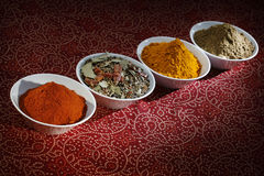 Spices. Indian spices in white bowls Royalty Free Stock Image
