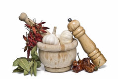 Spices And A Mortar Grinder. Royalty Free Stock Photo