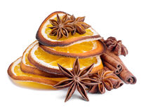 Spices.Anise , cinnamon and orange segments Royalty Free Stock Image