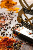 Spices and antique scales Royalty Free Stock Images