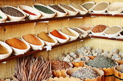 Spices in Arabic store including turmeric and curry powder Royalty Free Stock Image