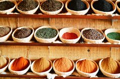 Spices in Arabic store including turmeric and curry powder Royalty Free Stock Images