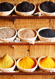 Spices in Arabic store including turmeric and curry powder Royalty Free Stock Photo