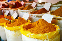 Spices in Arabic store including turmeric and curry powder Royalty Free Stock Photos