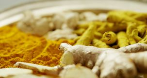 Spices arranged in plate 4k. Close-up of spices arranged in plate 4k stock video