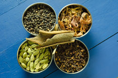 Spices arrangement. Spices on a blue table top in steel bowls stock photo