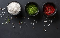 Diverse spices in plates on dark background, closeup, copy space. Spices assortment on black background. Salt, peppers and green parsley in bowls on dark Stock Photo
