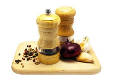 Spices assortment on a cutting board Stock Image