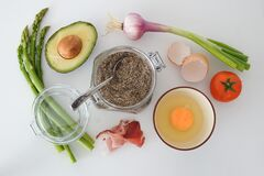 Spices Avocado and Ingredients on Table Stock Photography