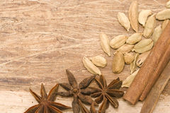 Spices background. Background with papyrus texture and various spices leaving copy space on the upper left, warm brown tones Royalty Free Stock Photography